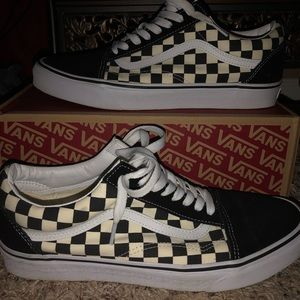 Checkered Vans Men's Canvas Skate Shoes Size 11